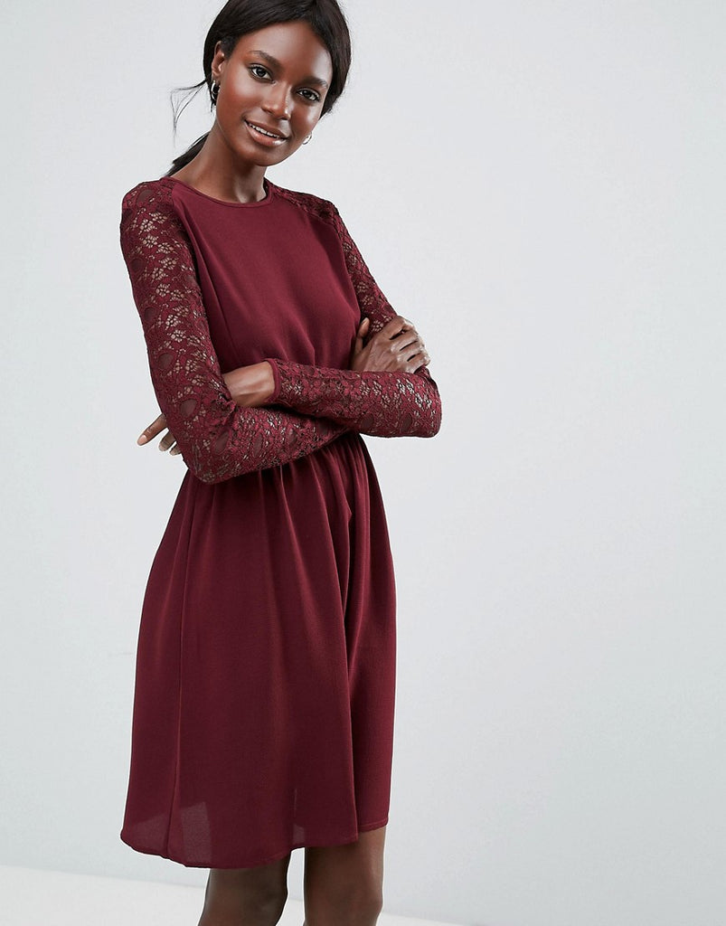 Y.A.S Lace Sleeved Dress - Decadent chocolate