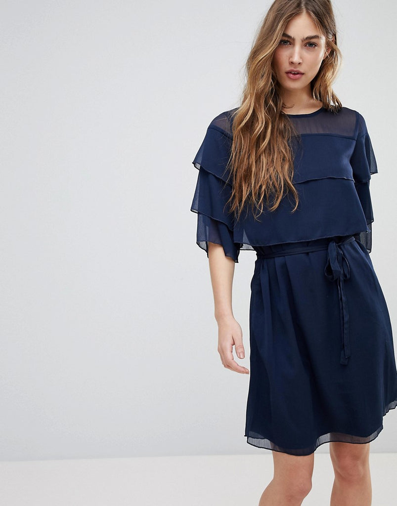 Blend She Cecile Layered Frill Dress - Blue