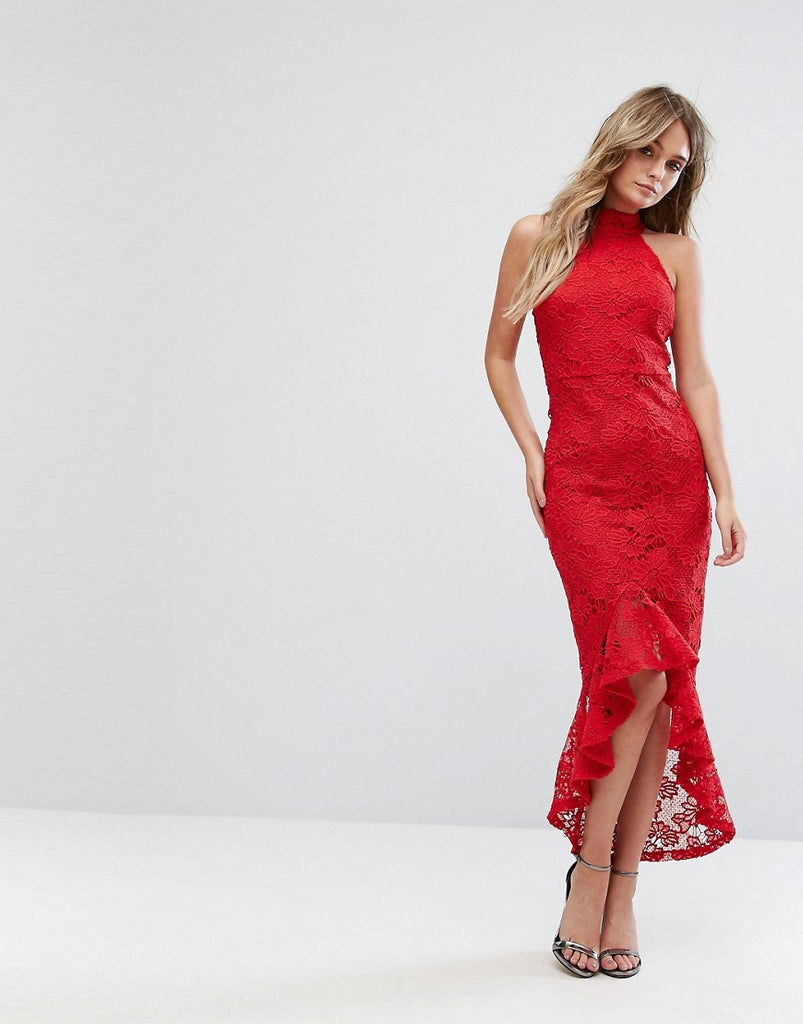 Missguided Lace Halterneck Fishtail Midi Dress - Red