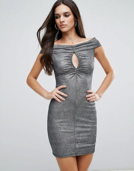 Love Ruched Front Bardot Dress - Foil