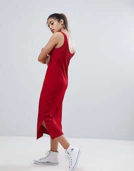 Calvin Klein Jeans Jersey Logo Dress - Tango red