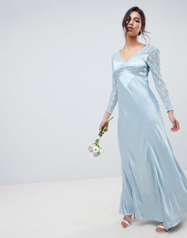 Ghost bridesmaid maxi dress with lace sleeves - Sky light
