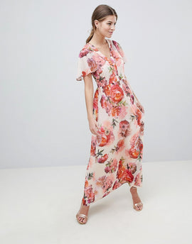 Oasis Rose Print Angel Sleeve Maxi Dress - Multi