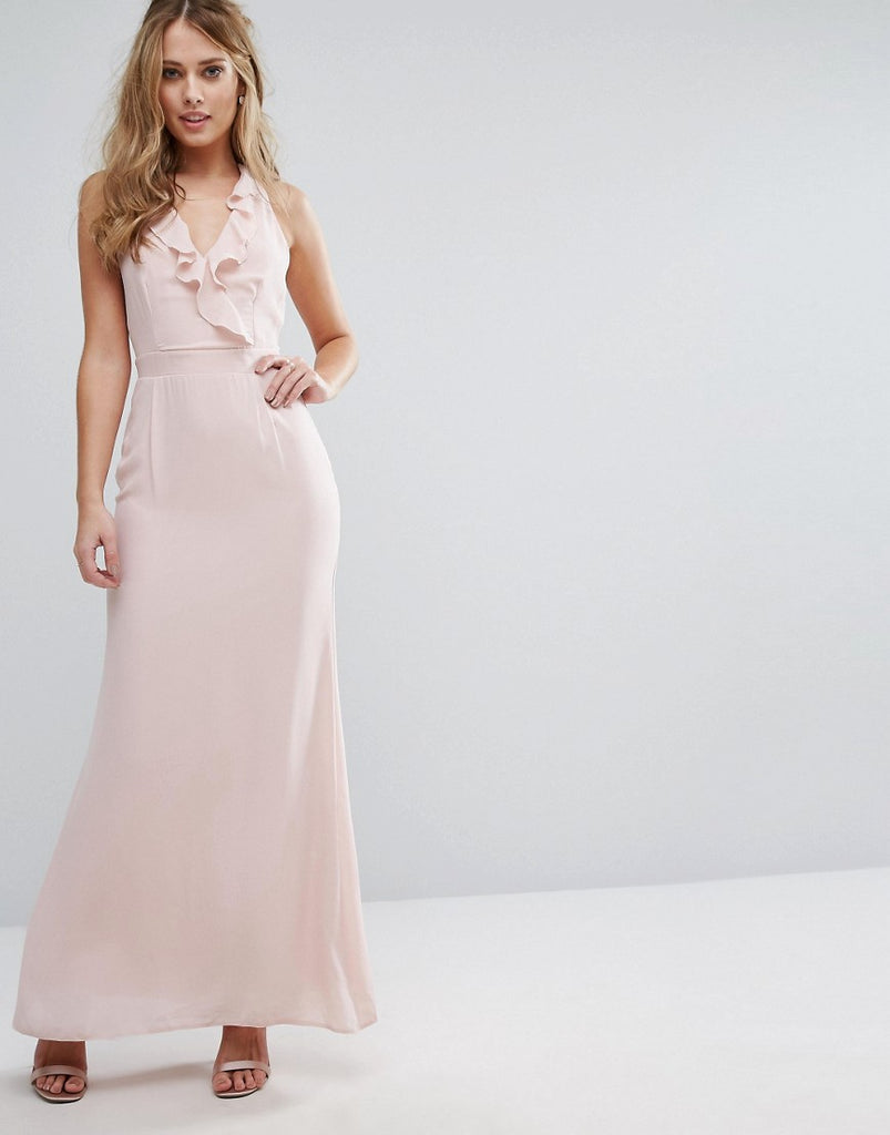 Elise Ryan Frill Maxi Dress with Straps - Soft blush