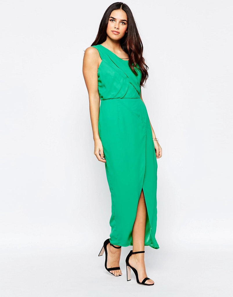 VLabel Herne One Shoulder Dress With Split - Green