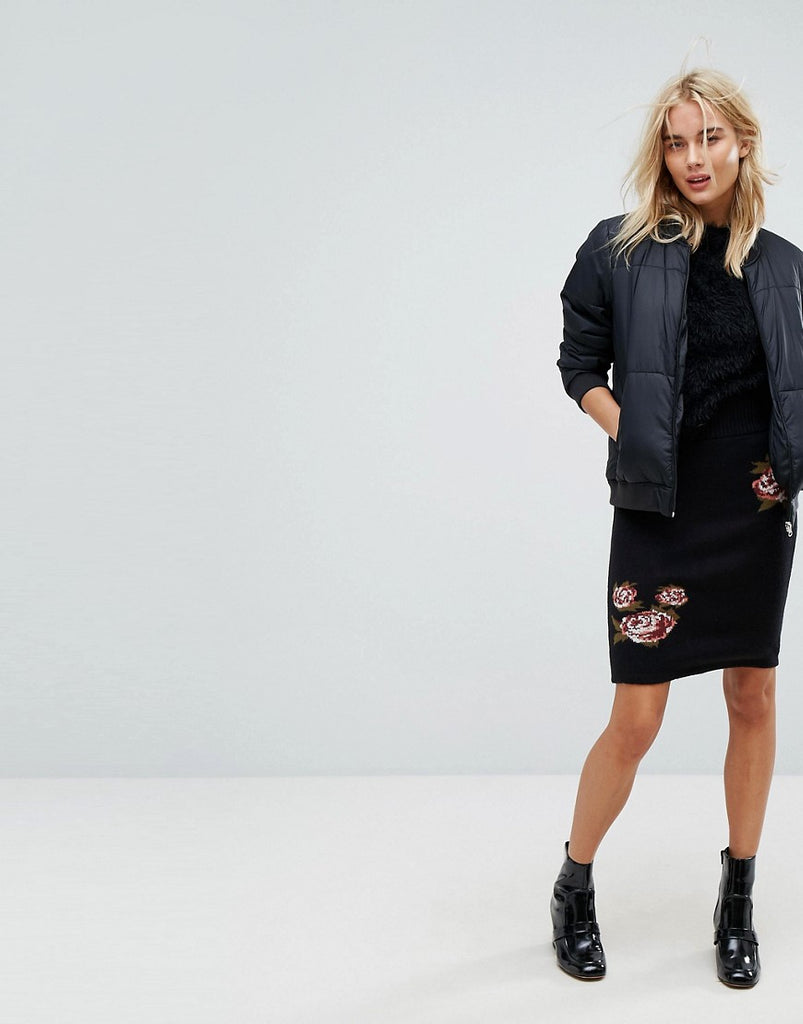 Vero Moda Floral Printed Skirt - Black beauty