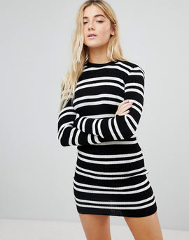 Daisy Street Jumper Dress in Stripe - Black/white