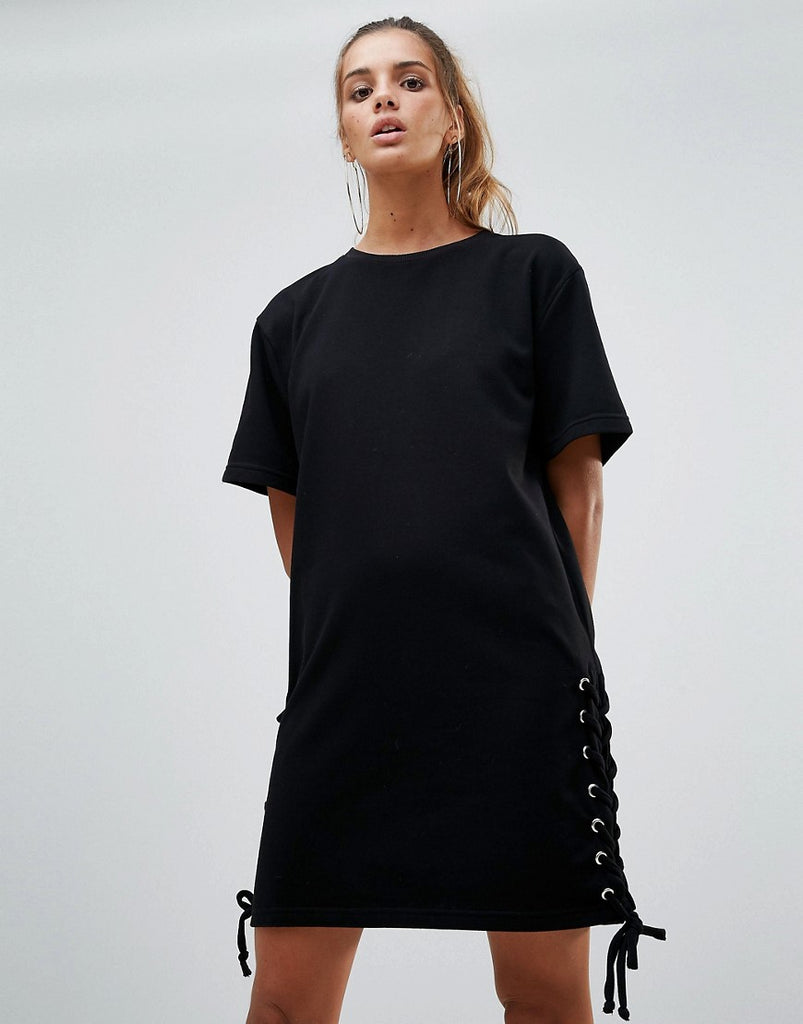 Chorus Lace Up Side Jersey Shift Dress - Black