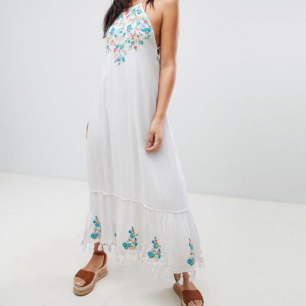 Raga Ashlynn Embroidered Maxi Dress - Eggshell