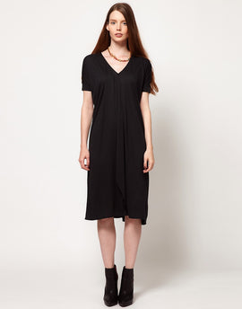 Dagmar V Neck Dress With Ribbed Sleeves - Anthracite
