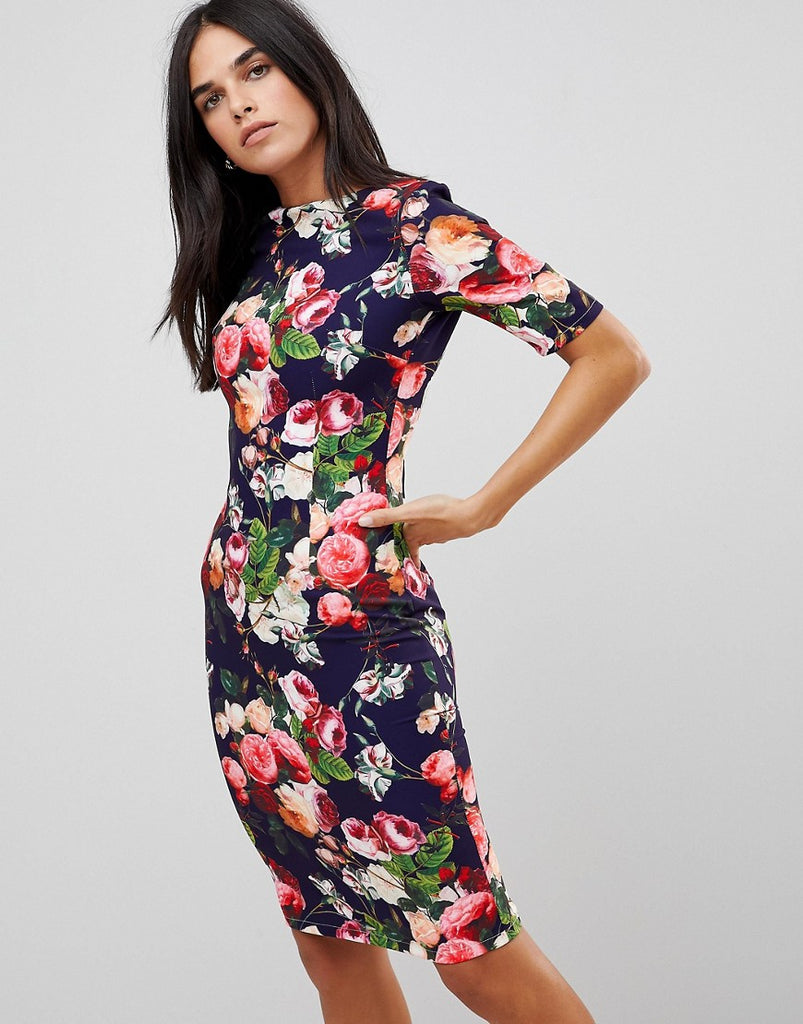 Paperdolls Floral Pencil Skirt Dress - Navy multi