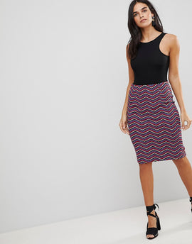 Traffic People Textured Printed Pencil Skirt - Black red