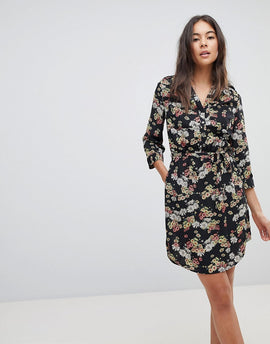 Oasis Floral Print Tie Front Shirt Dress - Multi black