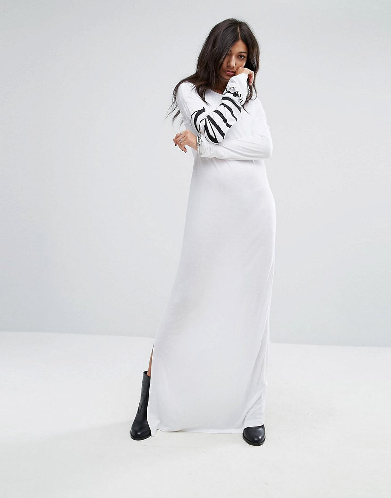 Noisy May Slogan Sleeve Maxi T-shirt Dress - Bright white