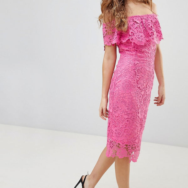 Paper Dolls Bardot Lace Pencil Dress With Frill Detail - Hot pink