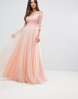 Forever Unique Bridesmaid Bardot 3/4 Sleeve Maxi Dress - Pink