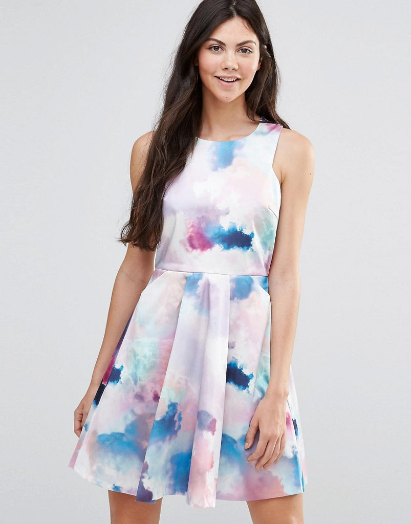 Yumi Cloud Print Skater Dress - Multi colour