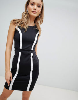 Zibi London Monochrome Bodycon Dress - Black