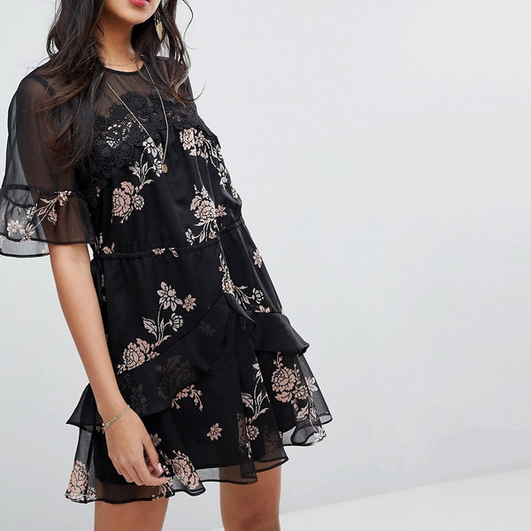 Stevie May Wild Flower Printed Mini Dress - Dark peony print