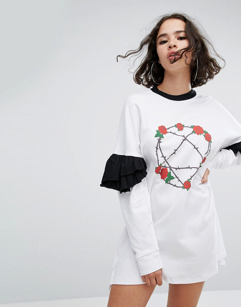 The Ragged Priest Heartagram Frill Sleeve Dress - White
