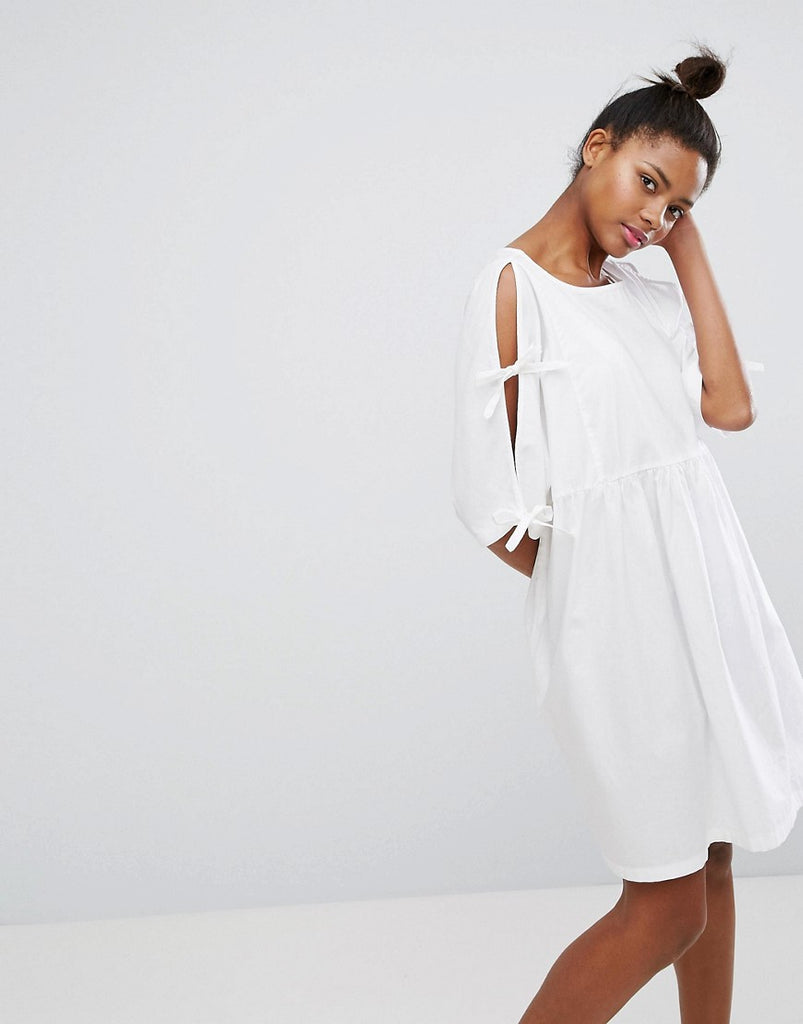 Monki Tie Sleeve Smock Dress - White