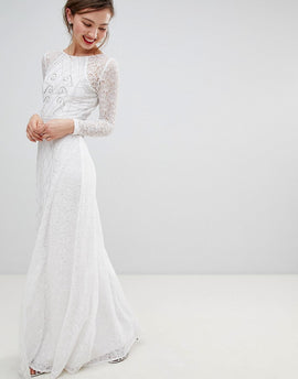 Frock & Frill Long Sleeve Lace Maxi Dress With Embellished Detail - White
