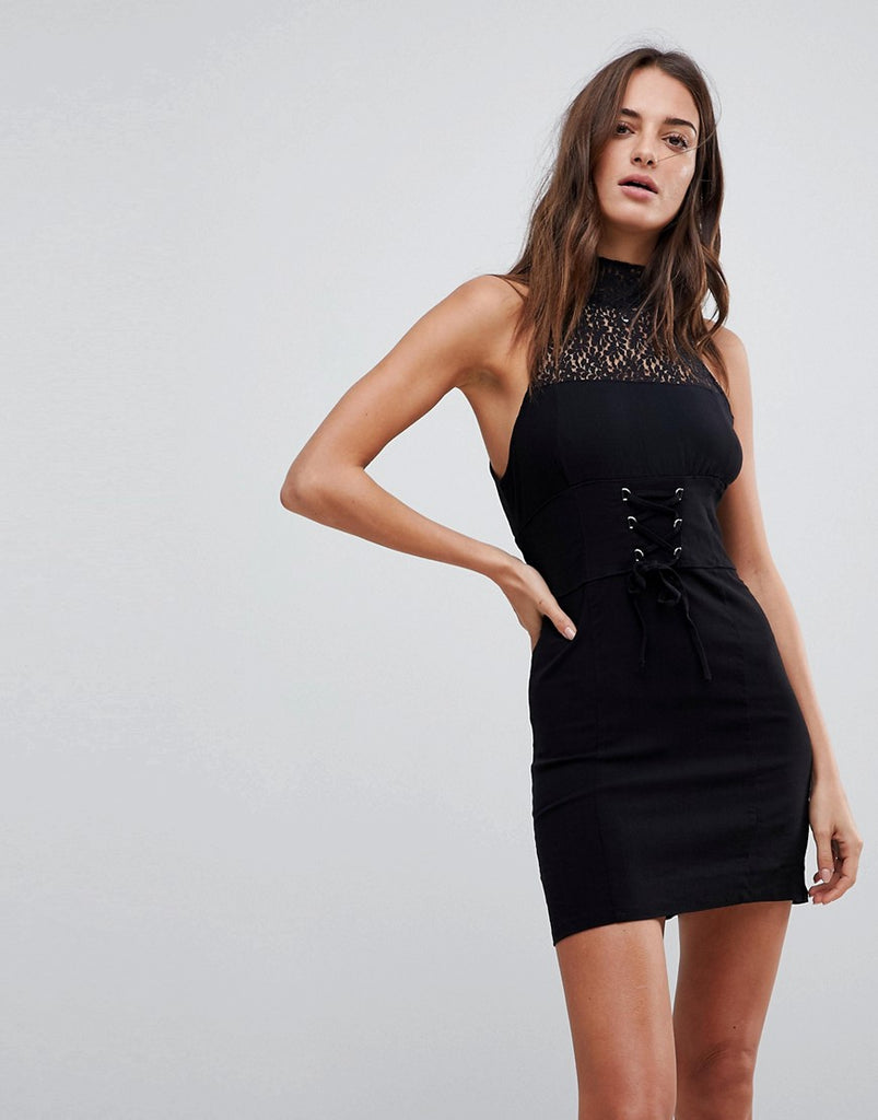 Free People High Society Lace Neck Bodycon Dress - Black