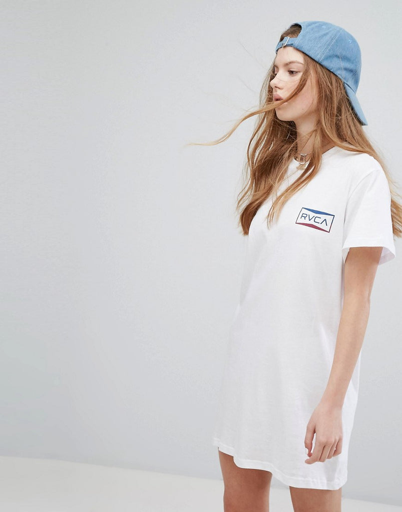 RVCA Oversized T-Shirt Dress With Box Print - White
