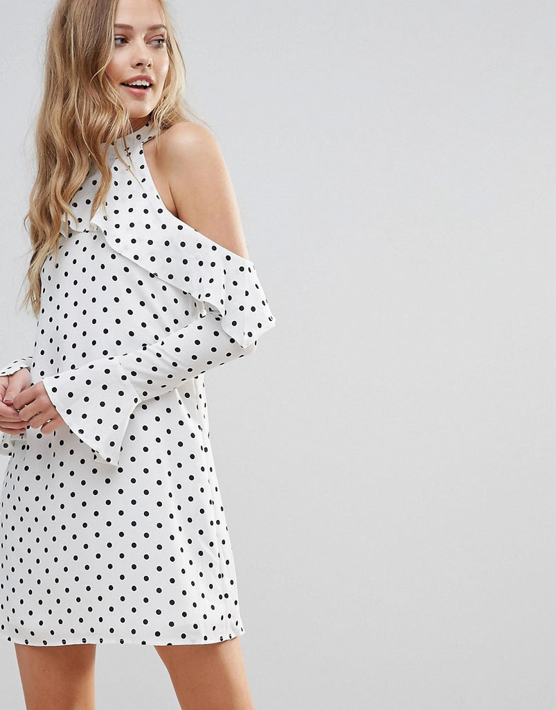 Oh My Love Halterneck Frill Long Sleeve Shift Dress In Polka Dot - White spot