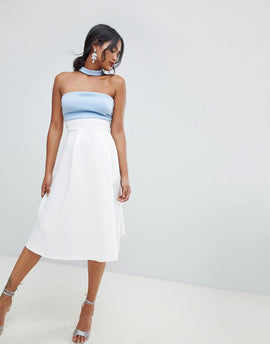 ASOS DESIGN colourblock choker prom dress - Ivory/blue