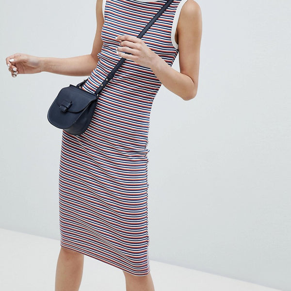 Esprit Stripe Sleeveless Jersey Dress - Orange/navy stripe