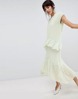 Vero Moda Layered Frill Midi Dress - Green