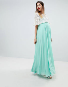 ASOS DESIGN Maternity Lace Embellished Crop Top Maxi Dress - Mint