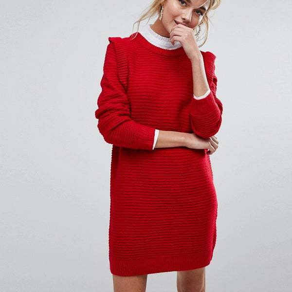 Willow And Paige Ribbed Jumper Dress With Frill Shoulder Detail - Red