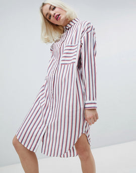 Monki Oversized Stripe Shirt Dress - Red blue white