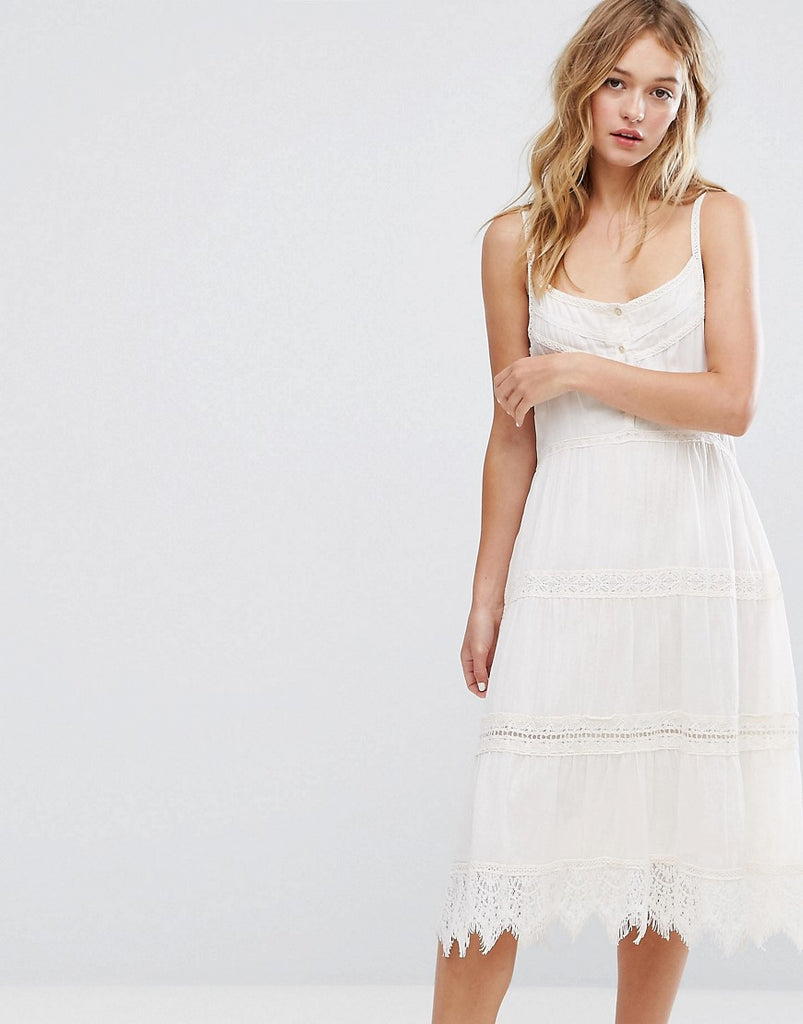 Bershka Crochet Button Up Midi Dress - Cream