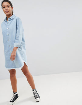 PrettyLittleThing Denim Shirt Dress - Light wash