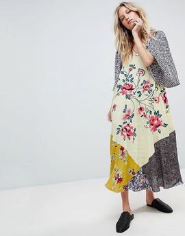 Free People River Market Midi Smock Dress - Blue combo