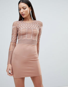 Forever Unique Mesh and Cut Out Mini Bodycon Dress - Tan