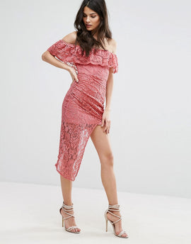 Club L Bardot Asymmetric Hem Lace Detail Dress - Dark rose