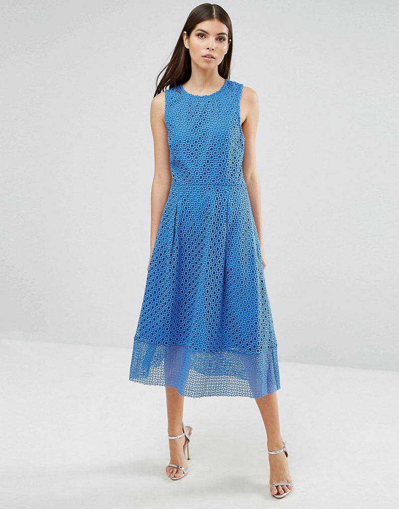 Warehouse Occasion Skater Dress With Sheer Skirt Layer - Bright blue