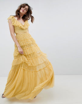 Needle & Thread layered maxi dress with ruffle neck detail in sunflower - Sunflower