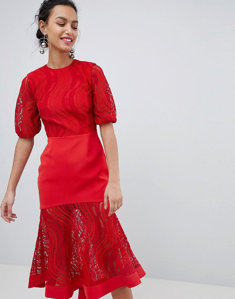 Keepsake lace midi dress in ruby red - Ruby red