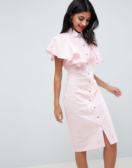 Closet London Pencil Dress With Frilled Sleeves - Pale pink
