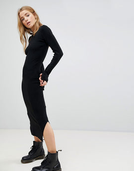 Bershka Knitted Jumper Midi Dress - Black