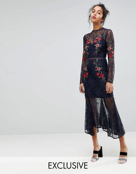 Keepsake Embroidered Lace Gown Dress - Navy