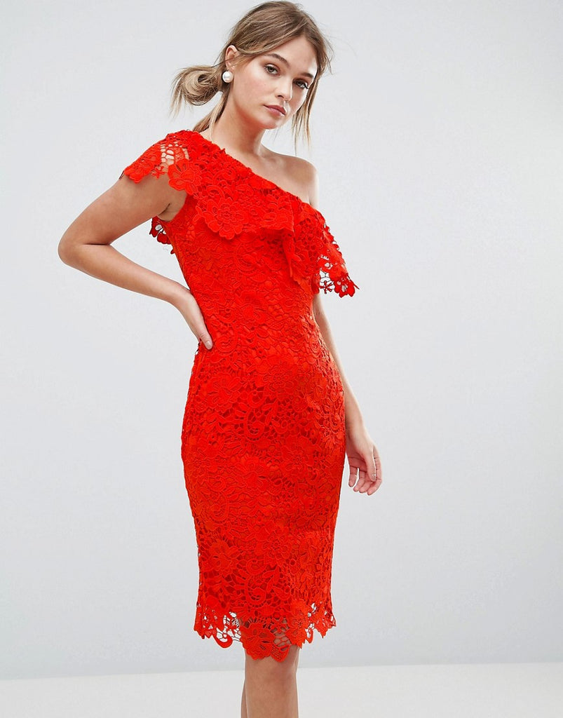 Paper Dolls One Shoulder Crochet Lace Dress - Tomato red