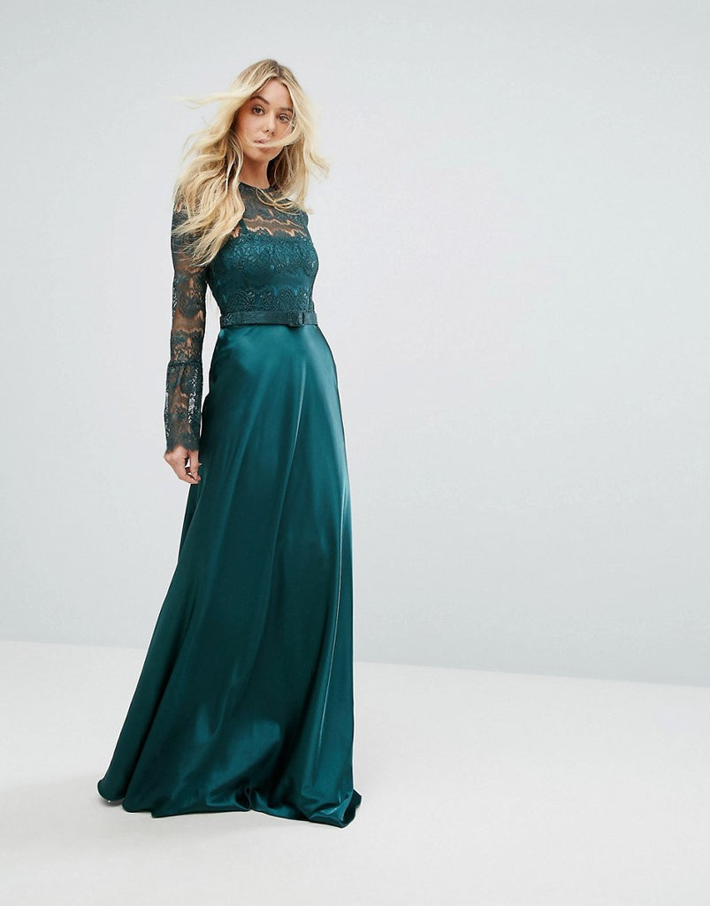 Bodyfrock Lace Long Sleeve Maxi Dress With Satin Skirt - Emerald green