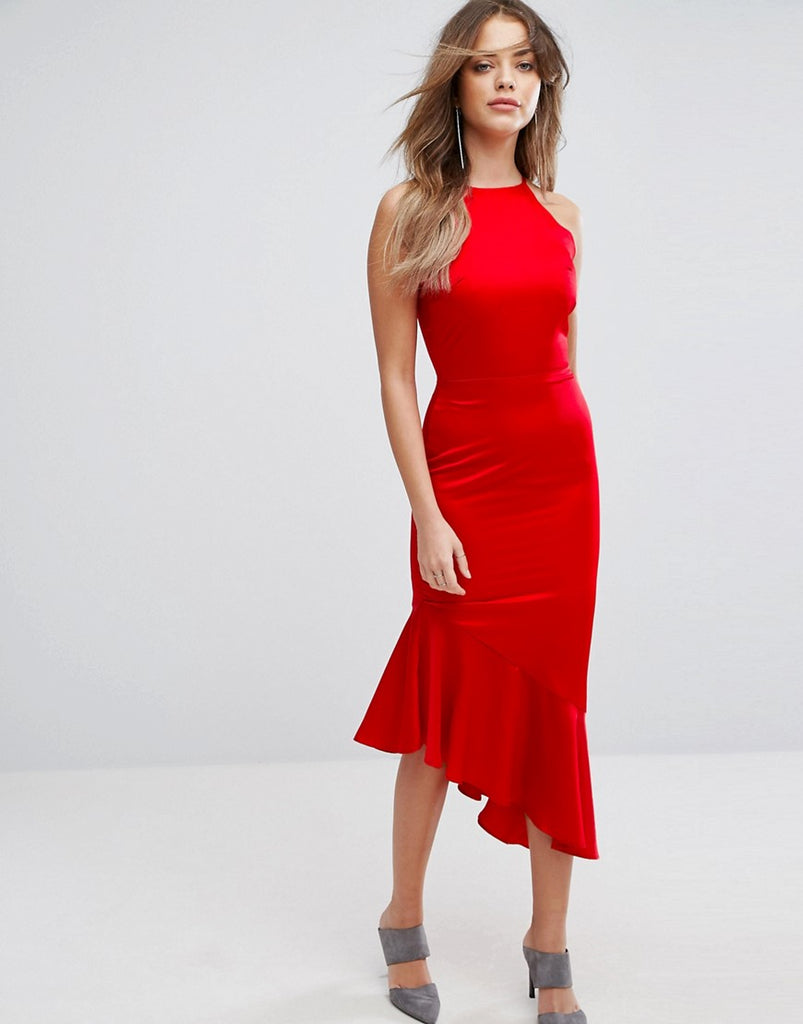 Lavish Alice Satin Waterfall Hem Midi Dress - Red