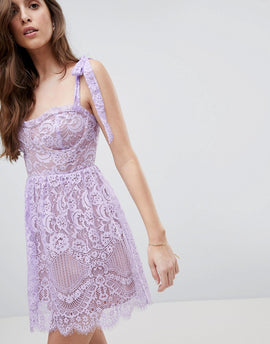 For Love and Lemons Valentina Mini Dress - Lavender